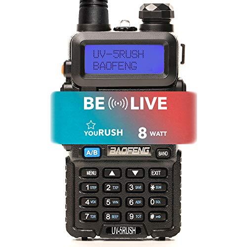 youRUSH UV-5RUSH 8W Multi Power Two Way Dual Band Radio - UV5R Radio with Extended BL-5 2800mAh Battery and Programming Cable Plus Lanyard - 8 Watt Portable Ham Radio