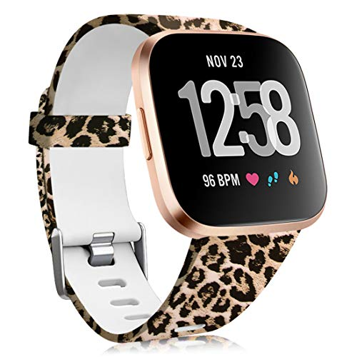 Maledan Compatible with Fitbit Versa/Fitbit Versa 2/Fitbit Versa Lite Bands for Women Men, Silicone Pattern Water Resistant Wristband Replacement for Fitbit Versa Smart Watch, Leopard, Small