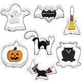 heekpek 7 Pezzi Set Formine per Biscotti di Halloween Set di Tagliabiscotti in Acciaio Inossidabile Fantasma Spaventato Gatto Teschio Pipistrello Bara Zucca Cappello da Strega Tagliabiscotti