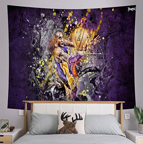 Xuejia Kobe Conmemorativa Junto a la Cama Tela de Fondo NBA Lakers Dormitorio decoración de la cabecera Tela para cancha de Baloncesto Tapiz Kit -7_150x100 (paño Cepillado)