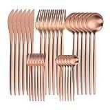 Stoviglie Posate Set Forchette Coltelli Cucchiai Cucina Forchetta in acciaio inox Cucchiaio Coltello Set da tavola in oro rosegold 6sets