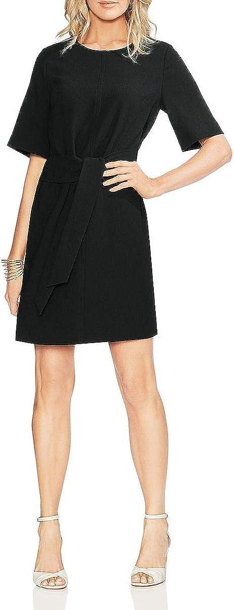 Vince Camuto Women's Short Sleeve Parisian Crepe Belted Dress
