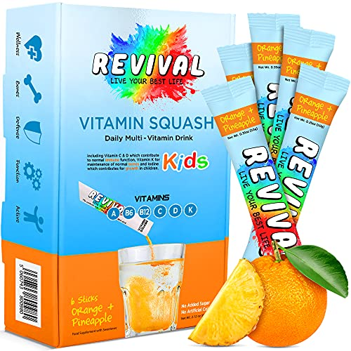 Revival - Bevanda quotidiana multivitaminica per bambini - Vitamina D, A, C, K, B6, B12 - Immunità, crescita, sviluppo