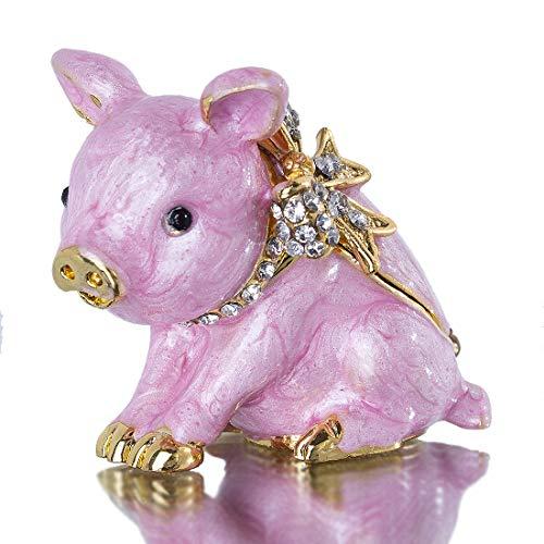Cute Piggy Jewelry Trinket Box Hinged Collectible Crystal Jeweled Pig Decor Animal Figurines