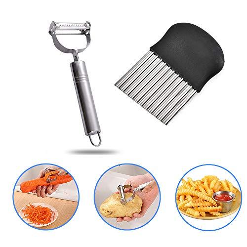 kuaetily Kartoffelschneider und Schaber, Wellenschneider, Buntmesser, Obst und Gemüse Hobel in der Küche.
