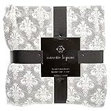 Nanette Lepora Gray White Damask King Blanket Size Plush New Scroll Medallion Throw Grey