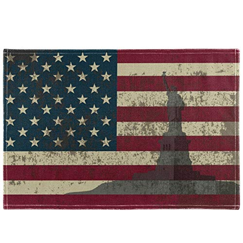 Oarencol American Flag Statue Of Liberty Vintage USA Placemat Table Mats Heat-Resistant Washable Clean Kitchen Place Mats for Dining Table Decoration 18' X 12'