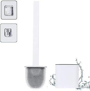 Brosse WC en silicone - Brosse WC en silicone avec support à séchage rapide - Kit de fixation mural et debout - Pour salle...