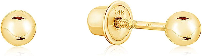Ioka - 14K Yellow Gold OR White Gold Round Plain Bead Ball Stud Screw Back Earrings - Various Sizes