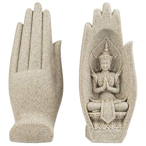 MyGift Resin Zen Buddha Hand Sculpture with 2 Artistic Peaceful Buddha Statues Poses in Palms, 1 Pair