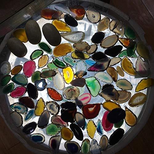 DGJEL - Rebanadas de ágata Natural arcoíris Pulida con Piedras Preciosas de Cristal de Cuarzo para curación de campanillas de Viento para Bricolaje, decoración del hogar