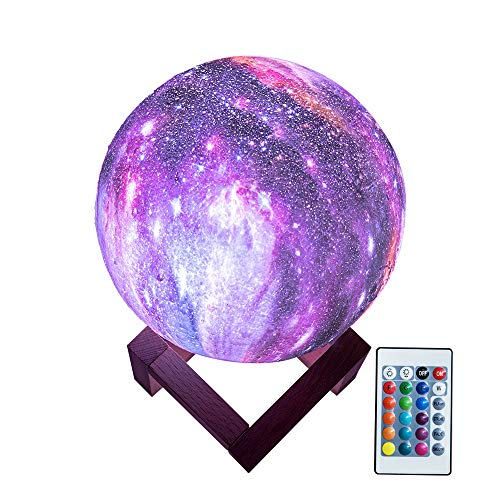 BRIGHTWORLD Moon Lamp Kids Night Light Galaxy Lamp 5.9 inch 16 Colors LED 3D Star Moon Light with Wood Stand, Remote &...