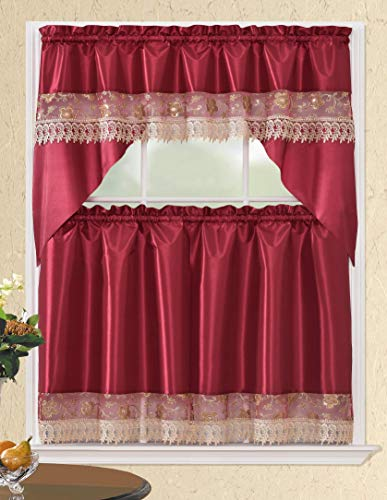 Café Curtains for Kitchen, Bathroom Curtains with Valance, Embroidered lace Border. (Burgundy Floral)