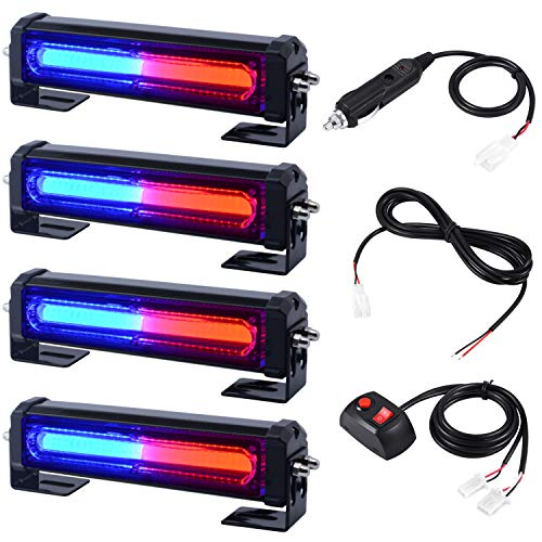 12V 24V LED Flashing Surface/Flush Mount and Grille Red Blue Emergency Strobe Lights for Police Car Trucks Law Enforcement Officer First Responder Vehicles Warning Lighting