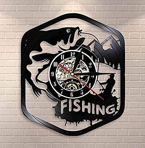 KDBWYC Reloj de Pared de Vinilo de Pescador, decoración del hogar, Reloj de Pared de Cuarzo silencioso, Reloj de Pesca de Vinilo, Reloj de Pesca, Regalo Retro de Pescador
