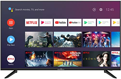 SmartTech SMT43F30UC2M1B1 109cm (43 Zoll) LED Fernseher Smart TV (4K UHD, Android 9.0, Google Assistant, Google Play, Prime Video, Netflix, Chromecast) Schwarz [Modelljahr 2020]