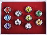NuoYa005 NEW 10PCS Naruto Rings Black Akatsuki Ring Set Sasori Itachi Hidan Deidara Cosplay member's Ring Set by NuoYa