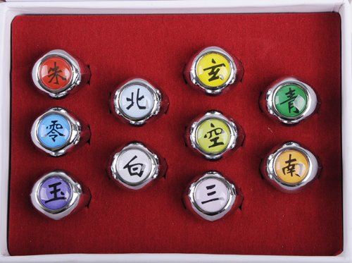 NuoYa005 NEW 10PCS Naruto Rings Black Akatsuki Ring Set Sasori Itachi Hidan Deidara Cosplay member
