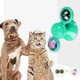 TaimeiMao Juguetes interactivos para Gatos, Juguete Placa Giratoria para Gato,Juguete de Masaje para Gatos, Juguete para Masticar con Pelota,Menta de Gato,Bola Intermitente LED Plato Giratorio