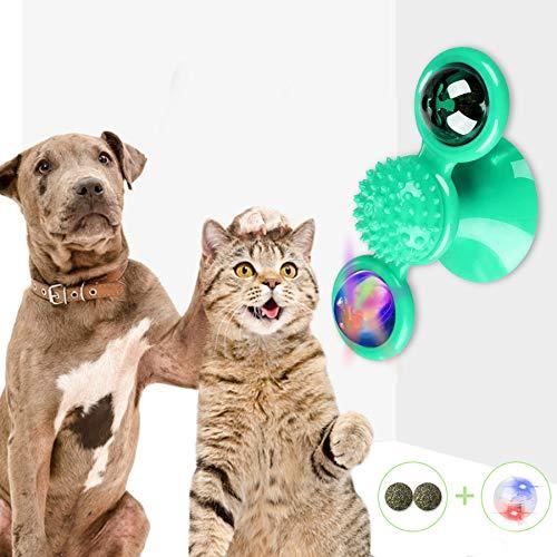 TaimeiMao Windmühle Katzenspielzeug, Plattenspieler Katzenspielzeug, Saugnapf Drehbare Interaktives Spielzeug, Katze Haarbürste Plattenspieler Massage Kratzen Tickle Toy (Grün)