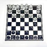 URFEDA Juego de ajedrez de Cristal Technologies Ajedrez con Tablero de Cristal Juego ajedrez de Vidrio Piezas de Cristal Esmerilado y Transparente y Tablero de Vidrio para niños y Adultos L 35x35CM