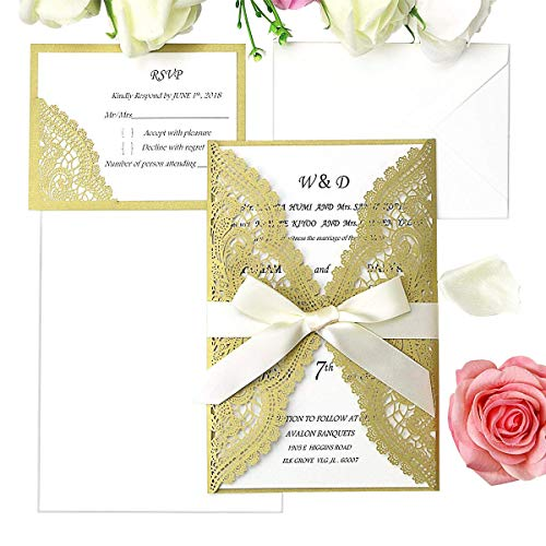 PONATIA 20 Pieces Laser Cut Wedding Invitation Cards Kits with Ribbons +RSVP Cards For Bridal Shower Engagement Birthday Baby Shower Graduation Cardstock (Dark Gold+ Dark Gold RSVP)