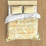 YAOAYAOE Funda nórdica,Patrón Floral Vector Flor Rosa Blanca Amarillasuave Dormitorio de Hotel Lujo Juego de Cama de 3 Piezas con 2 Fundas de Almohada