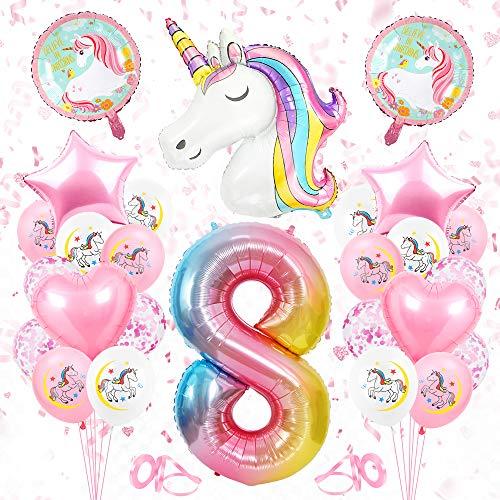 Globos Numeros Gigantes Unicornio 8, Decoración de Cumpleaños 8 en Rosado, Decoracion...