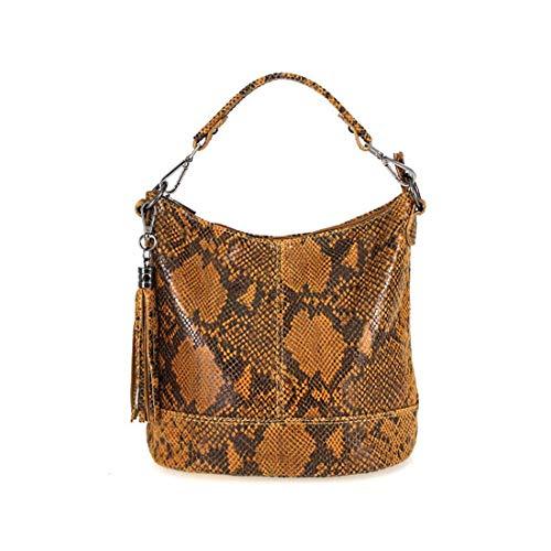 Damen Echtleder Tasche Handtasche Schultertasche City Bag Cross-Over Umhängetasche Henkeltasche Ledertasche Damentasche Schlangen-Prägung Python Muster Fransen Anhänger Cognac