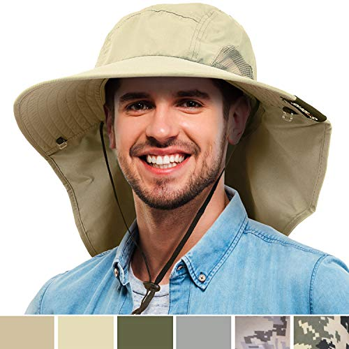 Men's Wide Brim Sun Hat with Neck Flap Fishing Safari Cap for Outdoor Hiking Camping Gardening Lawn Field Work