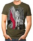 OM3® - Poland-Soccer-Girl - Herren T-Shirt EM 2020 Fußball Trikot Sexy Frau Polen Polska Vintage Oliv XL