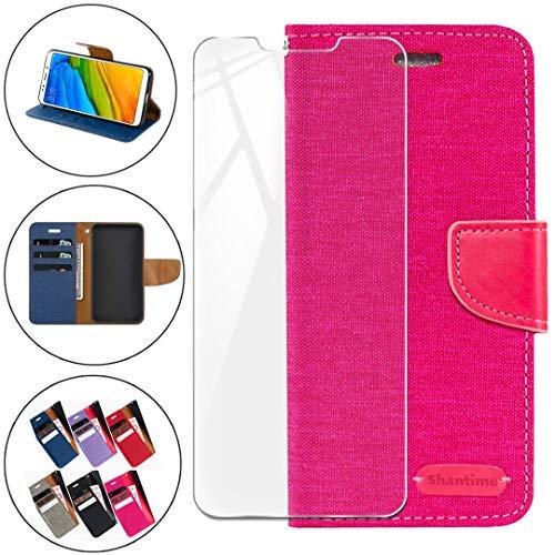 HYMY Denim Hülle für Wileyfox Swift 2X + Schutzfolie Panzerglas Folie - Lederhülle Flip Schutzhülle Card Slot mit Brieftasche Handyhülle Bookstyle Flip Cover Hülle - Rose Red