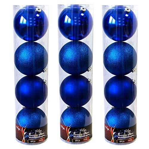 Wohaga 12er XXL Weihnachtskugeln Set 'Lord', Ø15cm, Kunststoff - Christbaumkugeln Tannenbaumkugeln, Farbe:Blau