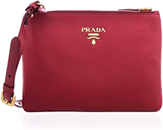 Vitello Cherry Red Designer Leather Crossbody Shoulder Bag 1BH046