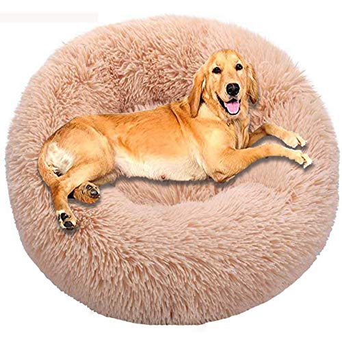 HANHAN XL Donut Fluffy Wicker Cushion Dog Bed Jumbo Extra Large Calming Mattress Orthopedic Sofa Bedding Washable Comfy Plush 2 Older Dogs Sleep Cuddler XXL Anxiety khaki