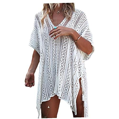 Aiyrchin para Mujer Ropa de Playa Cubre Sube Knitting Verano Traje de baño Hueco del Ganchillo Protegido Loose Beach Bikini Cubierta del Vestido Ups