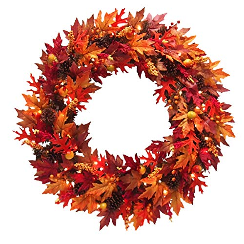 National Tree Company Pre-Lit Artificial Autumn Wreath Flocked with Mixed Decorations and LED Lights | Harvest Collection, 36 Inch, Orange