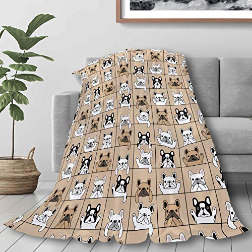 321DESIGN Flannel Fleece Bed Blanket Cute French Bulldog Lattice Dog Lover Throw for Couch, Sofa, Travel, Lap - Warm and Cozy - Small 40x50 in