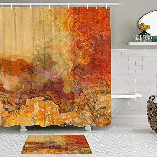BCVHGD Duschvorhang-Sets mit rutschfesten Teppichen,Abstrakte Kunst in Rot-Orange, Badematte + Duschvorhang mit 12 Haken