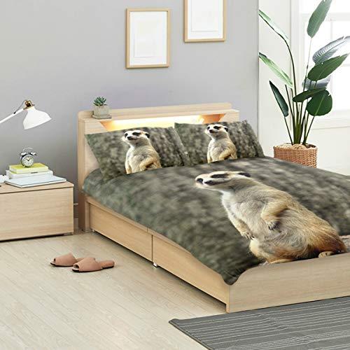 MONTOJ Tier-Vigilant Erdmännchen Bettwäsche-Set, Standard-Tagesdecke für Kinder, 3-teiliges Set