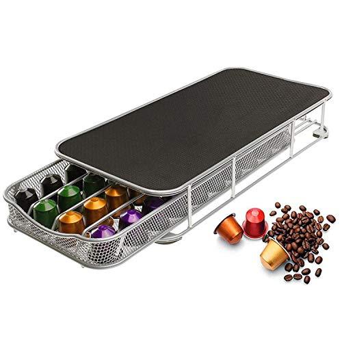 Coffee Pods Holder Storage Drawer for Nespresso Capsules 40 Coffee Capsule Organizer Stand Metal Storage Coffee Machine Base