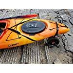 """THEKAYAKCART KC-10 Heavy Duty Canoe/Kayak Cart 14 KC-10 Heavy Duty Kayak cart has flexible cradle adapts to various hull shapes. Comes with dual strap attachments, buckles and hook. Weight capacity is 125 lbs. . Dim.16"""" x 10"""" x 11.5"""" 10""""x 2"""" puncture freewheels roll smoothly across gravel or sand. Aluminum solid axle with wheel release pins. Made of solid aluminum and co-polymer and will not rust. Made in the USA"""