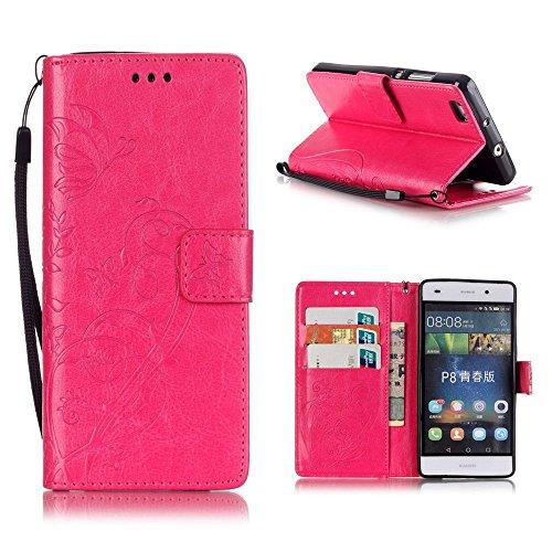 katumo® Wallet Case P8Lite, incluye gamuza piel PU Funda Funda Tarjeta SIM y aspecto Soporte móvil para Huawei P8Lite/Huawei Ale–L21Cover Shell, Gris, compatible con Huawei P8 Lite, color rojo