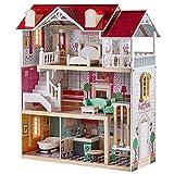 TOP BRIGHT Puppenhaus Holz groß,Holz Puppenhaus mit Möbel und Zubehör,Puppenhaus Spielzeug für...