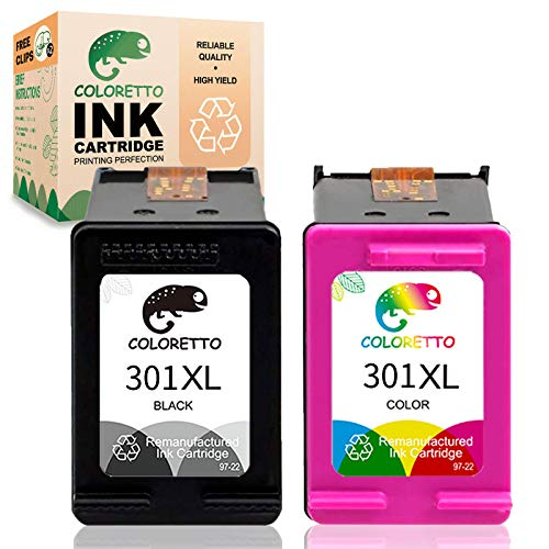 COLORETTO Cartucho de Tinta Remanufacturado para HP 301 XL 301XL (1 Negro,1 Tricolor) Compatible con Deskjet 1000 1010 1050 1055 2050 2510 2512 2540 3000 3050 1051 1510 1512 1514 2000 2514 Impresoras