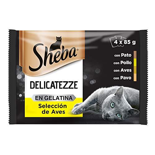 Sheba Delicatezze Comida Húmeda para Gatos Selección de Aves en Gelatina, Multipack (13 cajas x 4 sobres x 85g)