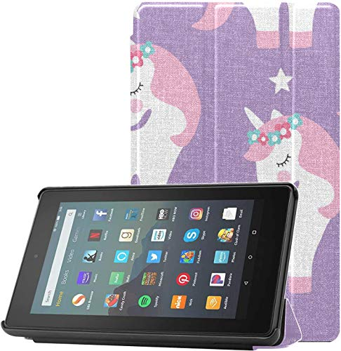 Cover Fire7Case2019 Unicorn Particluar Design KindleFireProtectorCase for Fire 7 Tablet (9th Generation, 2019 Release) Lightweight with Auto Sleep/Wake