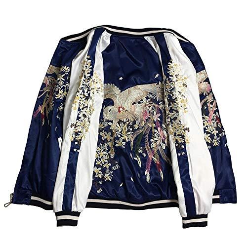 NOBRAND Frühling und Herbst Zweiseitig Tragen Bestickte Baseballjacke Herren Damen Kleidung Yokosuga Phoenix Seide Satin Bomberjacke Mäntel Gr. 48, blau