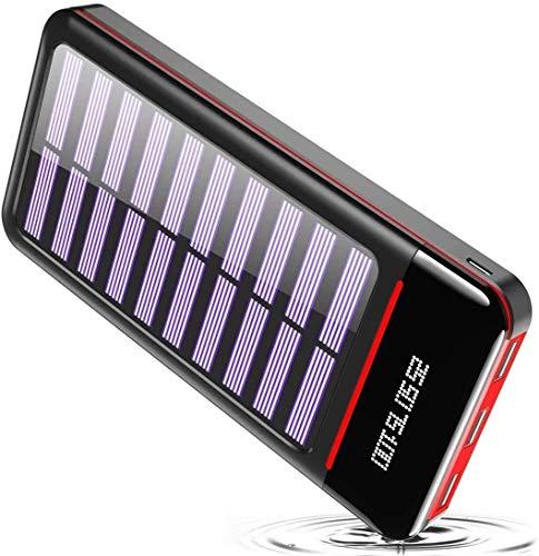 RLERON Batería Externa Cargador Solar Portátil 25000mAh, Power Bank ultra Capacidad con USB C & Micro 2 Entradas y 3 Puertos de Salida para Android iOS Phones, Tablet y Otros Smartphones