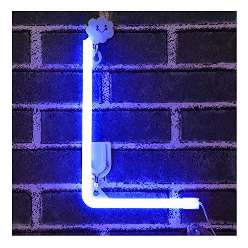 Blau Neon Brief Leuchtreklamen Zeichen Nachtlicht LED Festzelt Buchstaben Neon Kunst Dekorative Lichter Wanddekor für Kinder Baby Zimmer Weihnachten Hochzeit Dekoration (L)